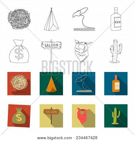 Bag Of Money, Saloon, Cowboy Kerchief, Cactus. Wild West Set Collection Icons In Outline, Flet Style