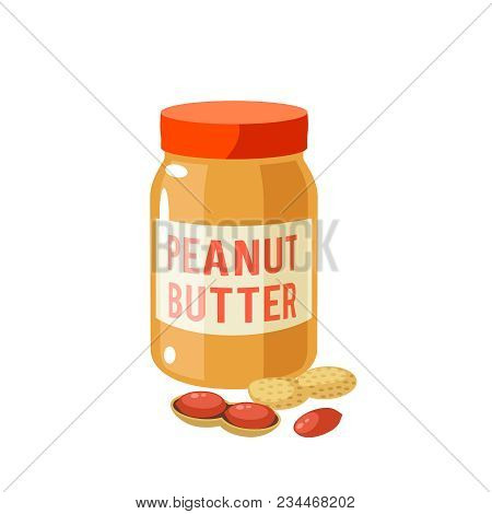 Breakfast, Delicious Start To The Day. Jar Of Peanut Butter And Peanuts. Vector Illustration Cartoon