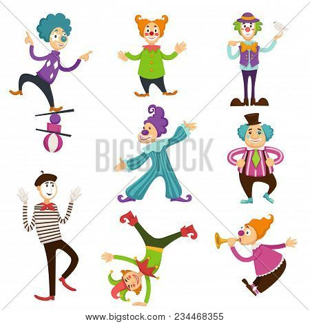 Clowns In Circus Making Tricks Cartoon Characters. Vector Isolated Icons Set Of Circus Clown And Mim