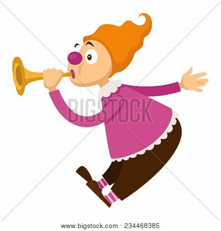 Clown In Circus Playing Music On Pipe Flute. Vector Cartoon Character Icon Of Clown In Bright Costum