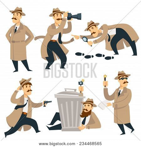 Detective Man On Investigation. Vector Cartoon Man Character In Detective Coat, Hat And Glasses With