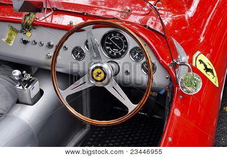 LONDON - SEPTEMBER 04: A vintage Ferrari at Chelsea AutoLegends, on September 04, 2011 in London. Ferrari was founded by Enzo Ferrari in 1929.