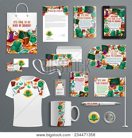 Back To School Branded Stationery Or Education Promo Apparel Supplies Design Template Or Advertising