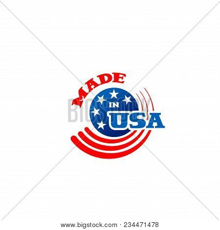 Vector Logo Made In Usa. American Usa Colorful Sign Isolated On White Background. Usa Logo In Red, B