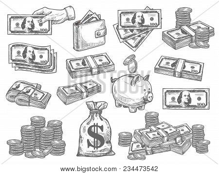 Finance And Money Hand Drown Set. Flat Design Vector Set With Coins, Dollars, Wallet And Piggy Bank.