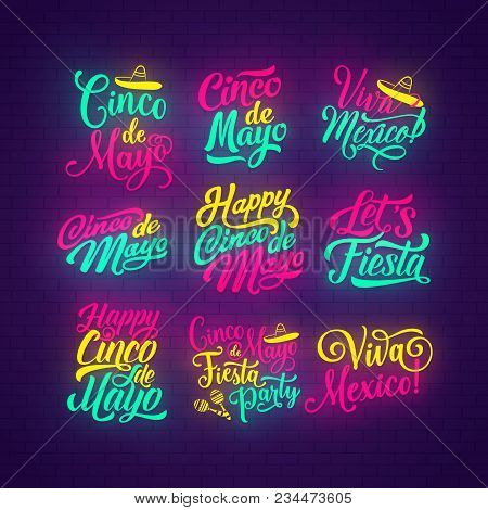 Cinco De Mayo Neon Lettering Set Of Mexican Holiday. Happy Cinco De Mayo And Viva Mexico Hand Drawn