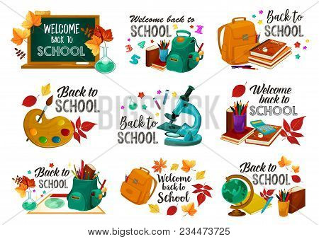 Back To School Icons Of Stationery Geography Globe, Lesson Bag Or Math Calculator, Paint Brush And M