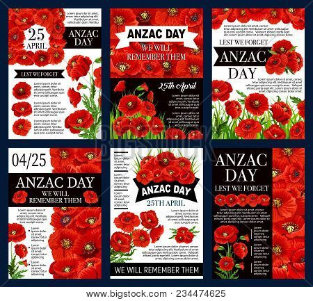 Anzac Day Australian Holiday Posters For Lest We Forget War Commemorative Day Of Australia And New Z