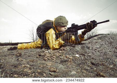 Freak Gunman Afraid Of Atomic War In Yellow Overall Pointing On Some Target