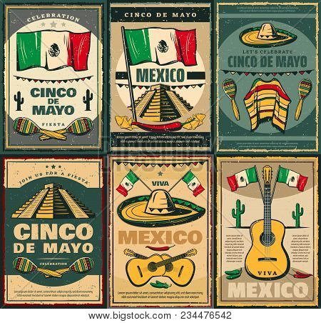 Cinco De Mayo Mexican Holiday And Viva Mexico Festive Poster. Latin American Fiesta Party Sombrero,