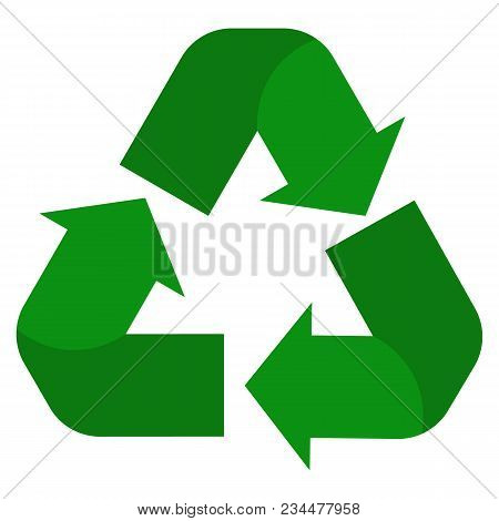 recycle icon on white background. green recycle sign. flat style. reuse symbol. poster