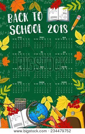 Back School 2018 Calendar Template Vector Photo Bigstock