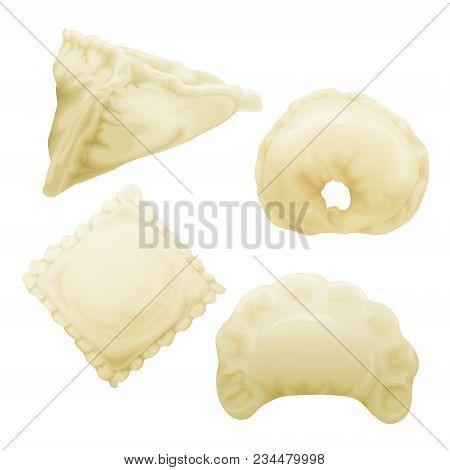 Vector Realistic Dumplings Set. Vareniki Pierogi Samsa Ravioli Pelmeni. Stuffed Pork Beef Meat With
