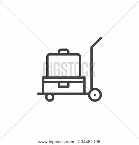 Luggage Trolley Outline Icon. Linear Style Sign For Mobile Concept And Web Design. Baggage Trolley C