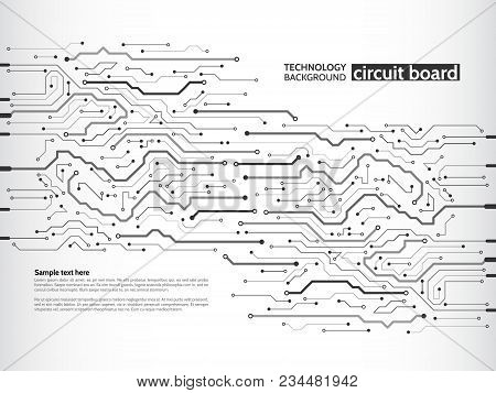 Communication And Engineering Concept. High-tech Technology Background Texture. Circuit Board Vector