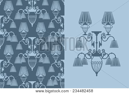 Seamless Background With Lamps And Chandeliers.vector Illustration