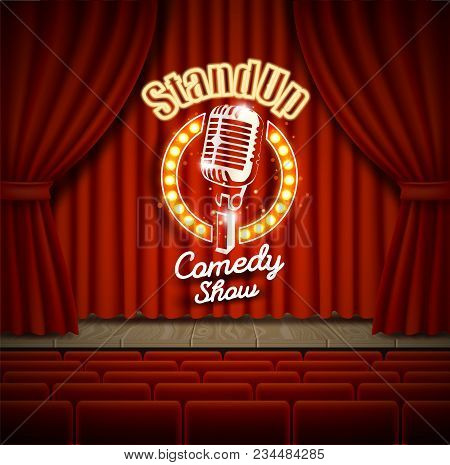 Comedy Show Theater Scene With Red Curtains Vector Realistic Illustration. Stand Up Comedy Event Pos