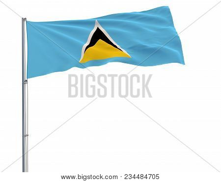 Isolate Flag Of Saint Lucia On A Flagpole Fluttering In The Wind On A White Background, 3d Rendering
