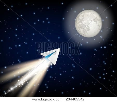 Ton Telegram Cryptocurrency Flying To The Moon Like Space Rocket Vector Illustration. New Cryptocurr