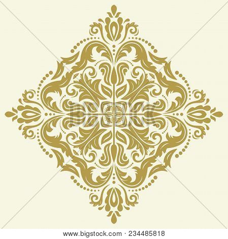 Oriental Vector Golden Pattern With Arabesques And Floral Elements. Traditional Classic Ornament. Vi