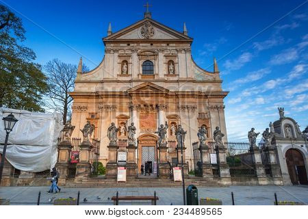 Krakow, Poland - November 12, 2017: Architecture of the old town in Krakow at dusk, Poland. Krakow is the second largest and one of the oldest cities in Poland.