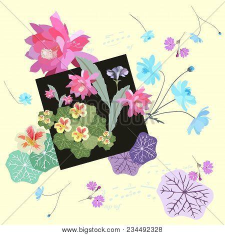 Vintage Romantic Pattern With Unique Combination Of Plants - Cosmos, Primrose, Nasturtium And Epiphi