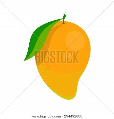 Banner With Whole Ripe Mango, Dietetic And Exotic Fruit, Simple Mango Pattern