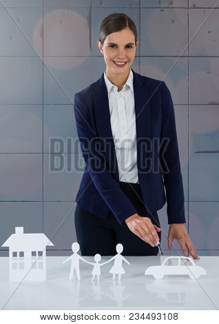 Cut outs of insurance with woman