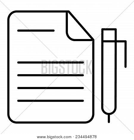 Notes And Pan Vector Icon. Black And White Note Illustration. Outline Linear Business Icon. Eps 10