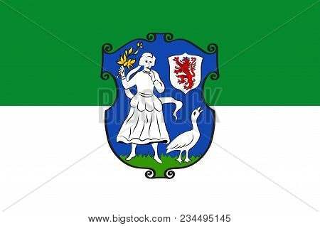 Flag Of Monheim Is A Town On The Eastern Bank Of The River Rhine In North Rhine-westphalia, Germany.