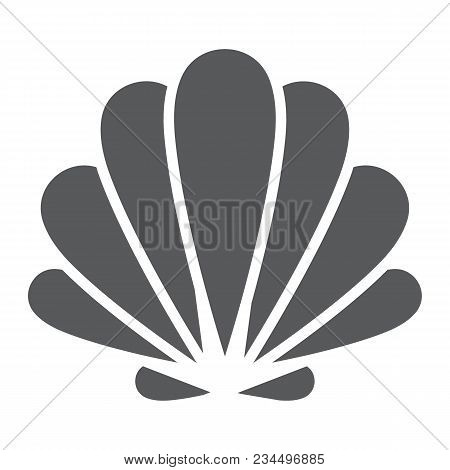 Seashell Glyph Icon, Animal And Underwater, Shell Sign Vector Graphics, A Solid Pattern On A White B