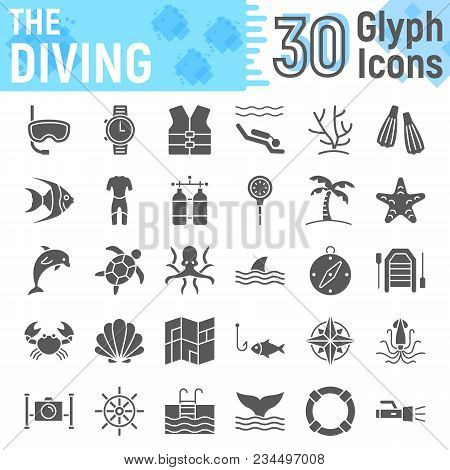 Scuba Diving Glyph Icon Set, Underwater Symbols Collection, Vector Sketches, Logo Illustrations, Sea
