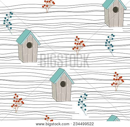 Vector Seamless Floral Background With Birdhouse And Berries