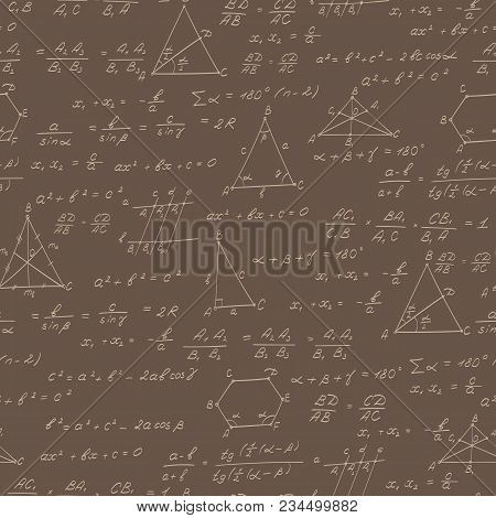 Seamless Pattern On The Theme Of The Subject Of Geometry , Formulas, And Charts Of Theorems , Beige