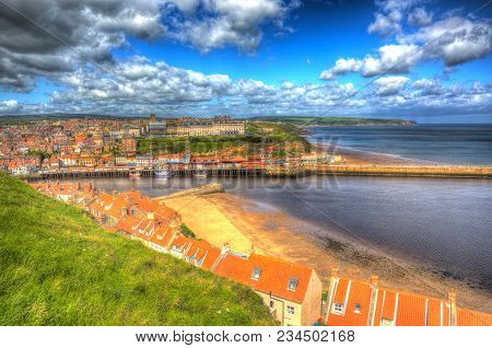 Whitby Town And Coast North Yorkshire England Uk In Colourful Hdr