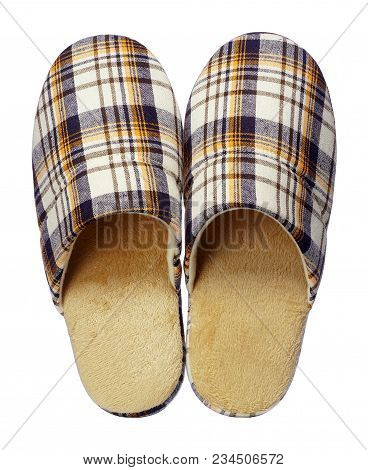 Yellow Checkered Slippers Isolated On White Background. Close Up, High Resolution