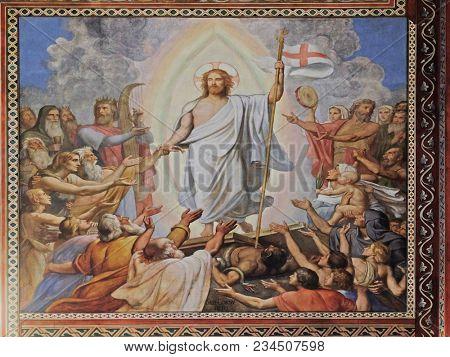 PARIS, FRANCE - JANUARY 04: Resurrection of Christ, fresco in the Saint Germain de Pres Church, Paris, France on January 04, 2018.