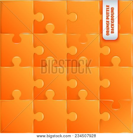 Orange Plastic Pieces Puzzle Game Complete Background