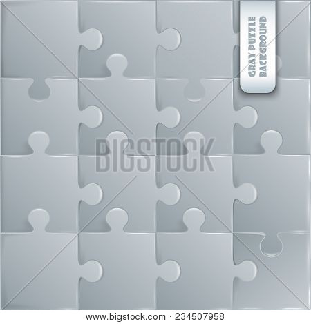 Gray Plastic Pieces Puzzle Game Complete Background