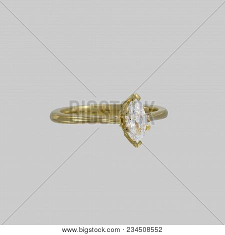 Ladies Ring Is Made Of Yellow Gold. The Ring Rail Has A Width Of 3 Mm And Tapers Towards The Ring He