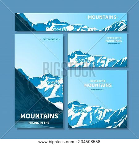 A Set Of Banners, A Site Header, A Business Card With A View Of The Mountains. Rocky Mestnost. Horiz