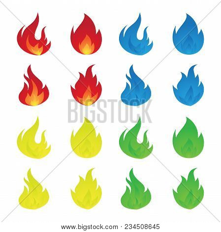 Simple Colorful Icon Flames In The Flat Style. Vector Set Of Fire And Flame Icons. Vector Illustrati