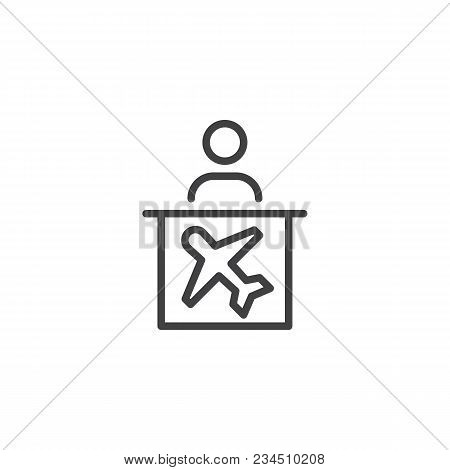Airport Help Desk Outline Icon. Linear Style Sign For Mobile Concept And Web Design. Airline Informa