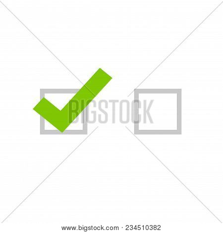 Tick Icon Vector Symbol, Flat Cartoon Green Checkmark Isolated On White Background, Checked And Empt