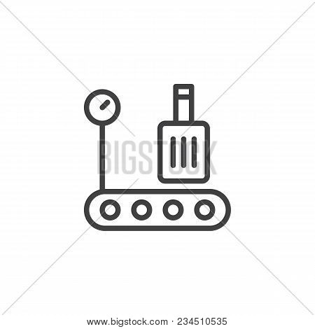 Airport Baggage Conveyor Belt Outline Icon. Linear Style Sign For Mobile Concept And Web Design. Con