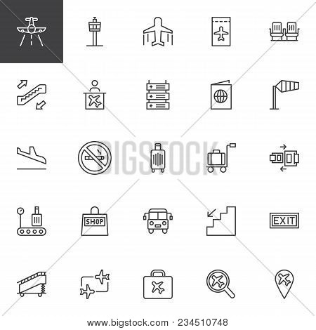 Airport Outline Icons Vector Photo Free Trial Bigstock