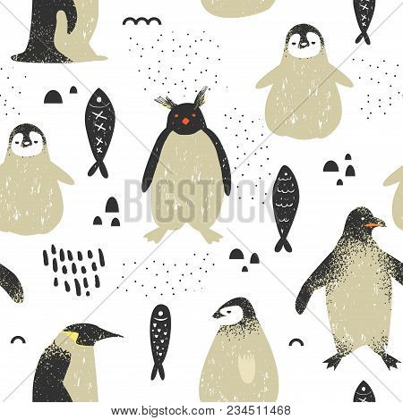 Baby Shower Seamless Pattern With Cute Penguins. Creative Hand Drawn Childish Penguin Background For