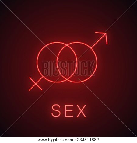 Sex Neon Light Icon. Interlocked Man And Woman Symbols. Sex Shop Glowing Sign. Vector Isolated Illus