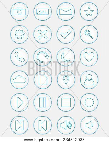 Set Of Round White Icons. White Icons With Blue Contour. Icons For Applications.