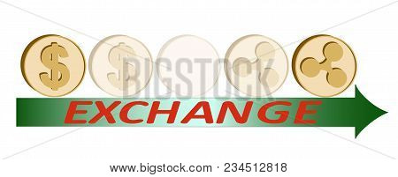 Exchange Dollar Coin To Ripple Coin ,design Concept , Dollar  And Ripple Coins Under Green Arrow Wit